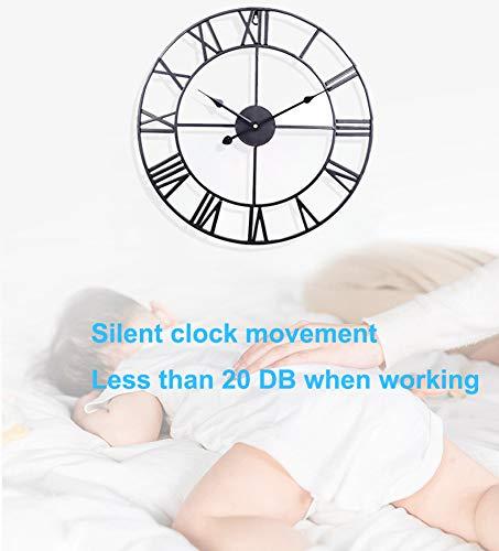 Taodyans Silent Wall Clock Vintage Roman Numerals 40cm Non Ticking Metal Skeleton Decorative Clock Living Room Kitchen Cafe Hotel Office Home Decor Gift (Black)