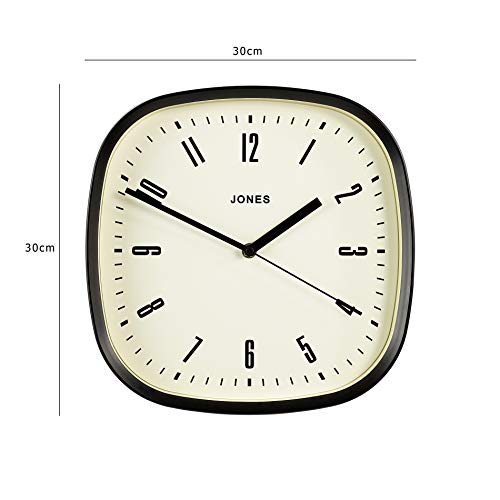 Jones Clocks® Square Retro Wall Clock, The Marvel Clock with Large Square Case 30cm Perfect as a Kitchen Clock, Living Room Wall Clock or Office Clock