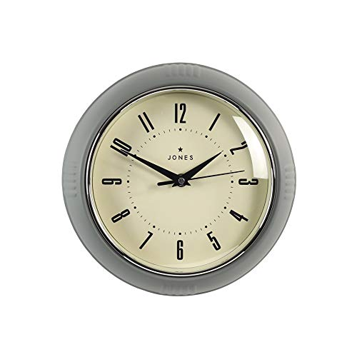 Jones Clocks® Round Retro Wall Clock – The Ketchup Clock – Easy to Read Numbers for Kitchen Office Dining Home 25cm (Grey)