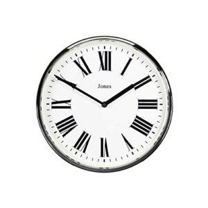 Jones Clocks ® Heartbeat Wall Clock, Contemporary Roman Numeral Round Wall Clock 30cm (Silver)