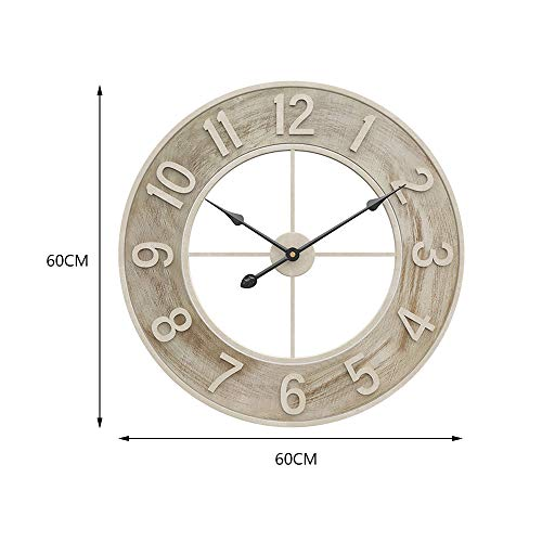 Warmiehomy 60cm/24inch Round Wall Clock Large Big Wooden Vintage Silent Non-ticking Hanging Clock for Living Room Bedroom Kitchen Office Restaurant Hotel Cafe Decoration