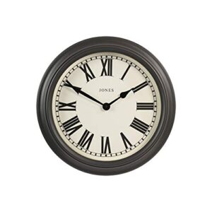 Jones Clocks® The Opera House Extra Large Wall Clock With Roman Numerals - Classic Design Perfect for Home/Kitchen/Living Room 50cm… (Dark Grey)