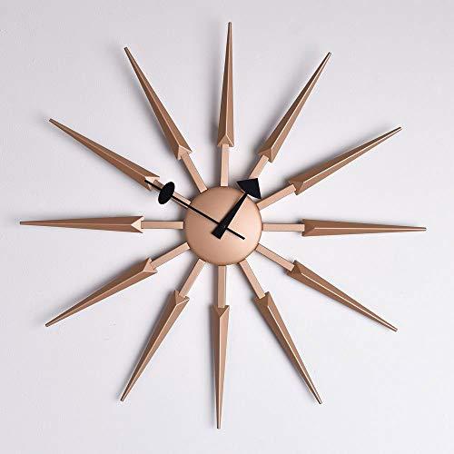Widdop HOMETIME Sunburst Wall Clock Rose Gold with Black Hands Quartz Timepiece Feature W7972