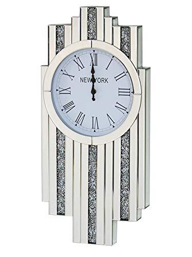 Sassy Home Diamante Crystal Jewel Mirror Art Deco Diamond Wall Clock, one Colour, 143 x 30 x 21cm