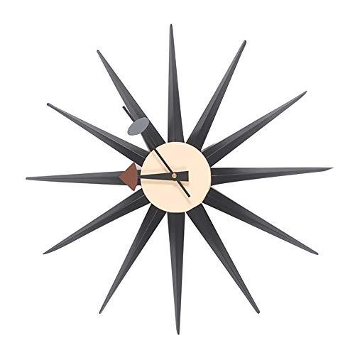 MYY Wall Hanging Clock Sunburst Style Retro Nordic Home Accessories Wooden Handmade Nostalgic Home Decoration,XF634M