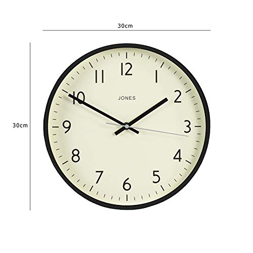 Jones Clocks® Studio Large Round Wall Clock Modern Colour Design Perfect as a Kitchen Clock, Living Room Wall Clock or Office Clock with Easy to Read Numbers 30cm (Black)