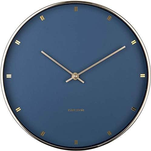Karlsson Petite Metal Wall Clock Dark Blue / Gold 27 x 4 cm (Diameter x Height) Batteries Not Included