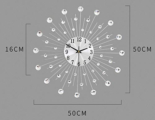 Lisaion 19.7inch/50cm Handcrafted Design Large Clock Diamante Beaded Crystal Jeweled Sunburst Silver Silent Metal Art Large Wall Clock Morden Murale For Clock Living Room Decoration Christmas Gift