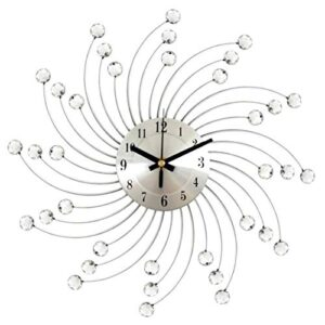 Diamante Crystal Sunburst Wall Clock Jeweled Silent Non Ticking Metal Beaded Art Mural Decorative Round Sparkling Bling 3D Removable Flower Shaped Ornament for Bedroom