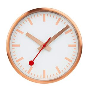 Mondaine, Wall Clock, 25 CM, Copper Clock for Living Room and Kitchen, A990.CLOCK.17SBK