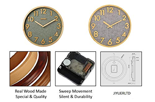 12 inches Wall Clock Kitchen Clock Silent Non-Ticking Quartz 3D Wood Numbers Display, Wood Frame with Linen Face Clock for Home Office Classroom School. (Natural Wood-Gray Iinen)