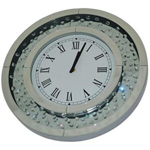 Sassy Home CD013 Mirrored Floating Crystal Diamante Round Wall Clock, one Colour, 50 x 50 x 4.5 cm