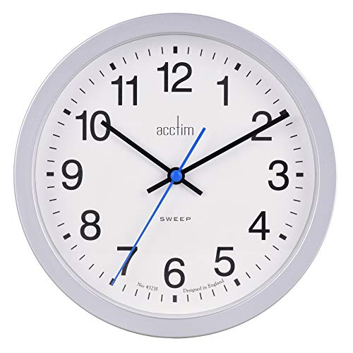 Acctim Bromham Non Ticking Sweep Seconds Hand Wall Clock 20cm Diameter (Silver)