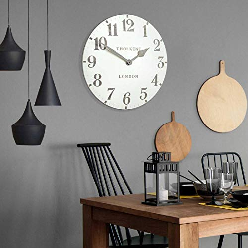 "Thomas Kent Arabic Design Limestone White Wall Clock - 12"" London"