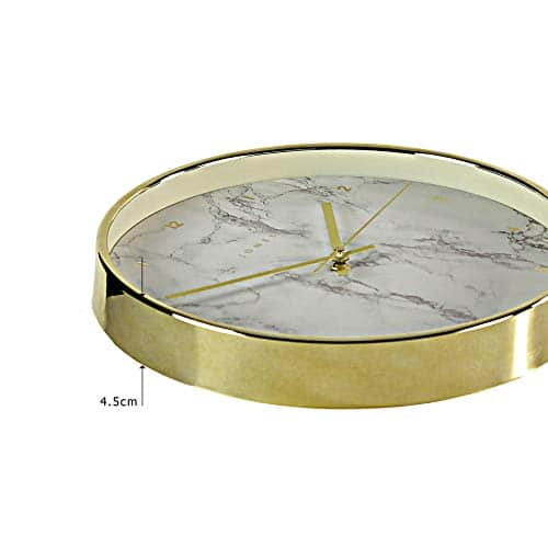 Jones Clocks® Penny Wall Clock - Classic Design With a Coloured Case and an Easy to Read Plain or Marble Dial - 30cm (Gold - Marble)