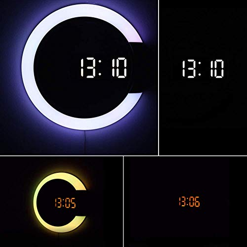 Led Light Wall Clock,Creative Remote Control Digital Clock Hollow Mirror Temperature Alarm 7 Color Change Ring Night Light For Home Office Decoration