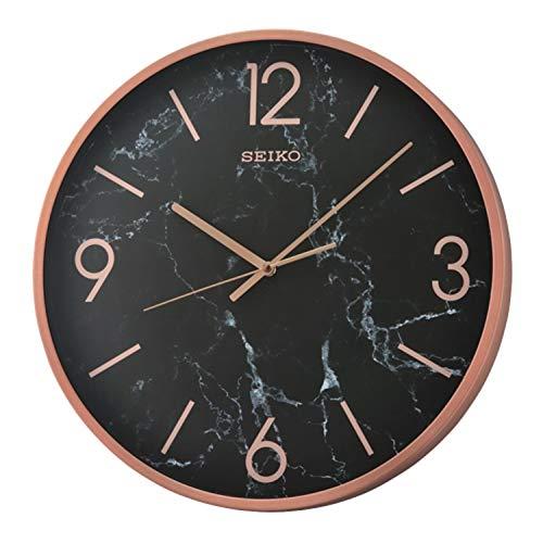 Seiko QXA760PLH Noir Elegant Wall Clock, 16-inch Diameter, Glass Cover