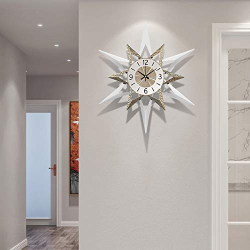 Olz Sunburst Large Wall Clocks,Metal Creative Wall Clock Silent Wall Clock Non Ticking Decoration Clock for Home Kitchen Living Room Office,White,60cm