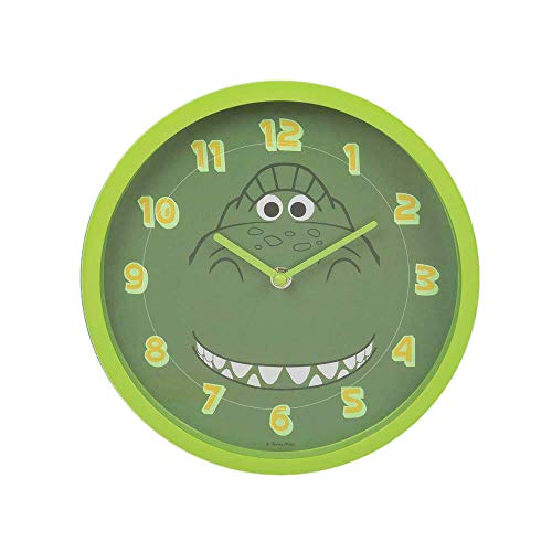 Widdop Disney Toy Story 4 Rex Childrens Bedroom Green Wall Clock Luminous Numbers DI625