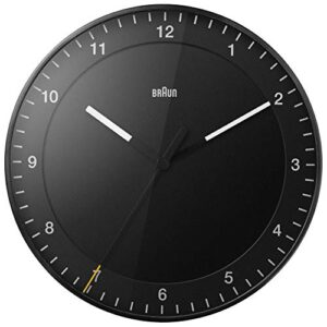 Braun Classic Large Analogue Wall Clock with Silent Sweep Movement, Easy To Read, 30cm Diameter in Black, model BC17B.