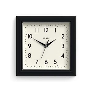 Jones Clocks® Mustard Square Retro Wall Clock Modern Colour Design Perfect as a Kitchen Clock, Living Room Wall Clock or Office Clock with Easy to Read Numbers 25cm (Black)