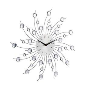 Relaxdays XL Shiny Wall Clock, Large Kitchen Sunburst Wall Clock, Modern Timepiece, No Ticking Noises, 50 cm Diameter, Silver