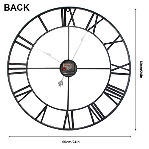 SEJU 60cm Large Metal Wall Clocks, Silent Non Ticking Vintage Retro Style Wall Clock with Roman Numerals, for Living Room Garden Bedroom Kitchen Office Lounge Hotel Decor Gift, Black