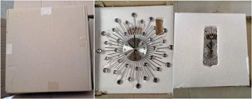 33cm Handcrafted Design Large Clock Diamante Beaded Crystal Jeweled Sunburst Silver Silent Metal Art Large Wall Clock Morden Murale For Clock Living Room Decoration (Silver_33cm)