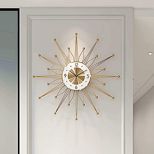XLBHSH Metal Modern Wall Clock Mid Century Wall Clock Silent Large Sunburst Big Fancy Decorative Clock for Living Room, Bedroom, Office Space,60cm