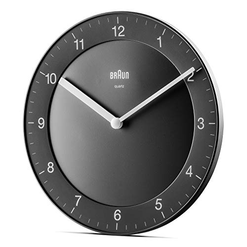 Braun Classic Analogue Wall Clock with Quiet Quartz Movement, Easy to Read, 20cm Diameter in Black, Model BC06B, One size