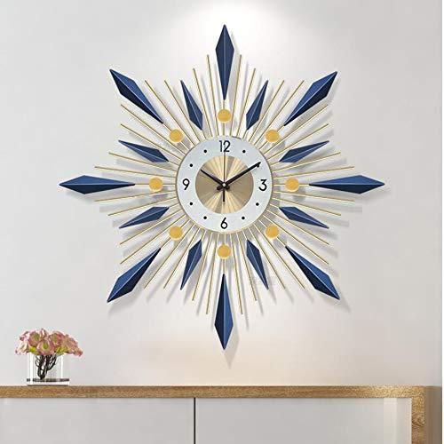 Olz Large Sunburst Wall Clock, Modern Design Home Decor Wall Watch Living Room Bedroom Mute Clock Wall Metal Digital Wall Clocks,Gold+blue,60cm