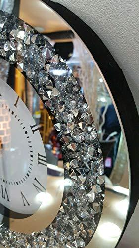 Premier Interiors Gatsby Modern Diamante Crush Crystal Mirror Glass Round Wall Clock 35cm Silver