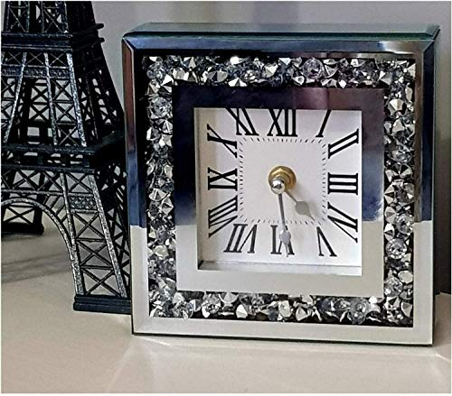 Diamante Silver Jewelled Border 34 x 34cm Wall Mounted Roman Numbers Wall Clock/White Background Silent Elegant Shiny Jewelled Wallclock