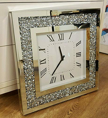 Gatsby Modern Diamante Crushed Crystal Mirror Glass Square Wall Clock 50cm Silver Black hands
