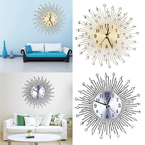 F Fityle 2pack Aluminium Dial Sunburst Diamante Metal Wall Clocks Living Room Home Decor, Silver&Gold Color