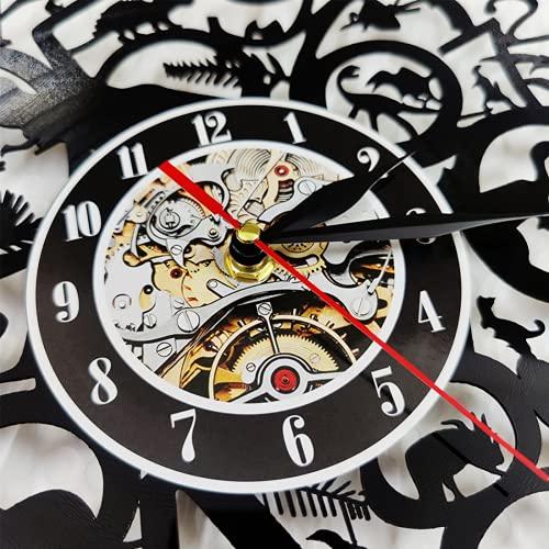 Gears and Cogs Wall Clock Cogwheels Science Art Artificial Intelligence Led Steampunk Night Light Vinyl Clock With LED Nightlight