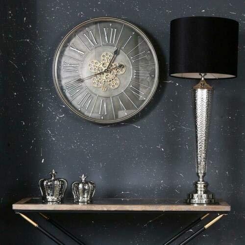 Large 60cm Wall Clock Dark Grey Chrome Metal Moving Gears Roman Numerals