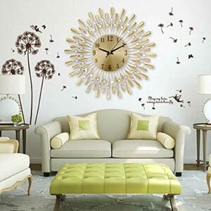 3D Large Diamante Beaded Crystal Jeweled Sunburst Wall Clock Living Room Kitchen (Color : Gold)