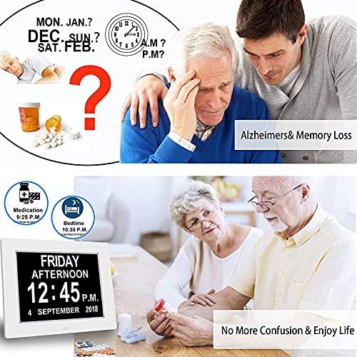 Digital Alarm Clock 8'' Wall Bedroom Calendar, 16 Reminders, 5 Custom Alarms, Memory Loss Elderly Seniors Dementia Sufferers Alzheimers Vision Impaired Children