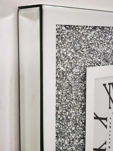 Elegant Wall Clock Diamante Glass Large Clock Home Living Room Decoration (40CM x 40CM)