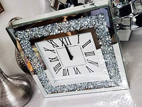 Biznest Crashed Jewel Luxury Wall Clock Diamante Glass Large Wall Clock Home Living Room Decoration 35Cm X 35Cm