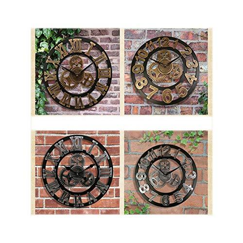 SOFIALXC Clock 3D Retro Rustic Vintage Wooden Gear Wall Clock,Luxury Art Big Wooden Vintage Steampunk Industrial Decor,Silver,40cm