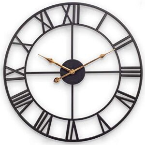 Large Wall Clock, European Industrial Vintage Clock with Large Roman Numerals, Indoor Silent Battery Operated Metal Clock for Home, Bedroom, Living Room, Kitchen and Den - 45cm, Classical Black