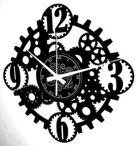 Instant Karma Clocks Vinyl Wall Clock Retro Gothic Steampunk Gear Art Decoration, Black