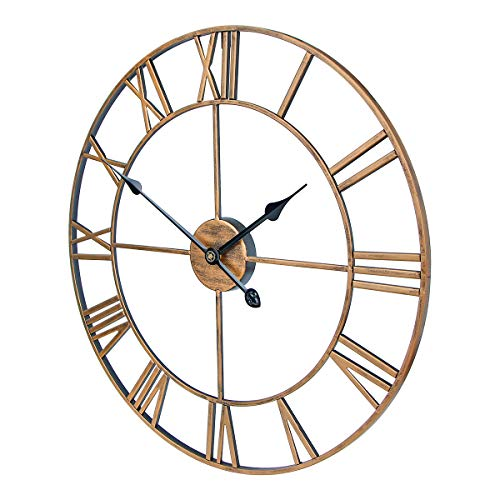 SEJU 60cm Large Metal Wall Clocks, Silent Non Ticking Vintage Retro Style Wall Clock with Roman Numerals, for Living Room Garden Bedroom Kitchen Office Lounge Hotel Decor Gift, Gold