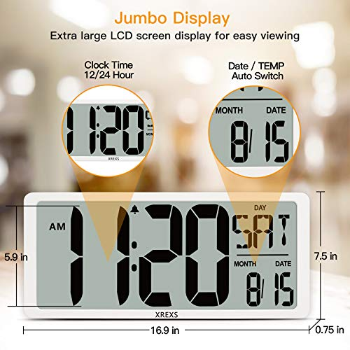XREXS Large Digital Wall Clock--16.9'' Display Screen Modern Silent Wall Clock with Backlight, Alarm Clocks with Time/Calendar/Temperature Display,Clocks for Living Room Bedroom, Count Up & Down Timer