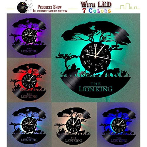 Beach Love Vinyl Record Wall Clock LED The Lion King ,Creative Hanging Night Lamp 7 Color Luminous Wall Clock for Living Room Beedroom Home Decor Gift