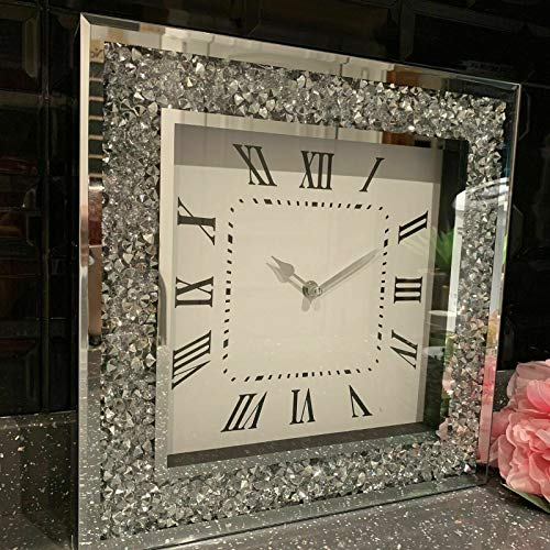 DEENZ Extra Large Loose Diamante Wall Clock Elegant Luxury Diamond Crystal Mirror Crushed Jewel Roman Wall Clock For Home Office Living Room Bedroom Decoration-50X50cm silver