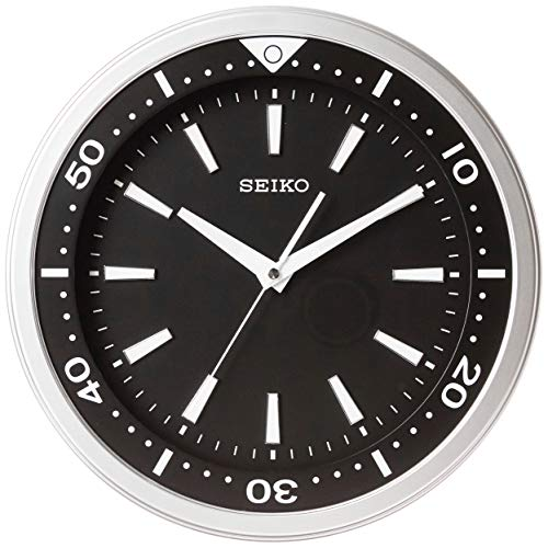 """Seiko 14"""" Ultra-Modern """"Watch Face"""" Black & Silver Tone with Quiet Sweep Wall Clock"""