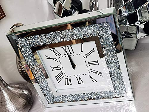 Elegant Wall Clock Diamante Glass Large Clock Home Living Room Decoration (35CM x 35CM)